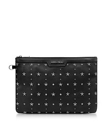 Black Grainy Leather Derek Clutch - Jimmy Choo