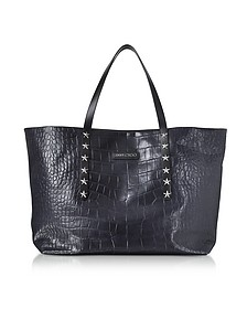 Navy Blue Croco Embossed Leather Pimlico Large Tote Bag - Jimmy Choo