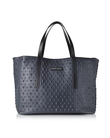 Navy Blue Stars Embossed Large Tote Bag - Jimmy Choo