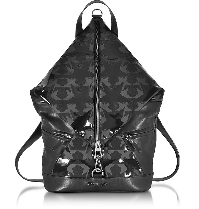 2bcf8c49ffa0 Jimmy Choo Fitzroy Black Graphic Star Print Canvas Backpack at FORZIERI