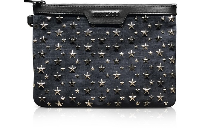 Clutch Derek S in Suede Stampa Denim - Jimmy Choo