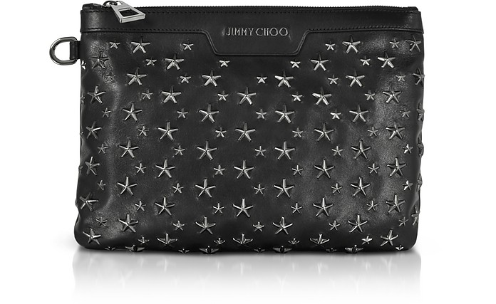 Derek S Clutch in Pelle Nera/Gunmetal - Jimmy Choo