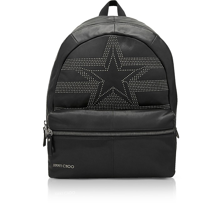 Reed Black Leather Large Backpack W/Studded Star