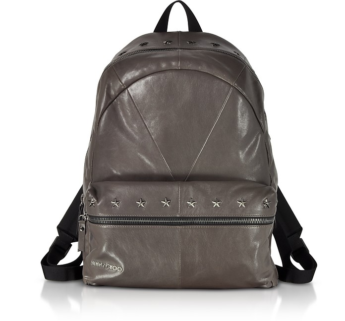 Reed BLS Biker Smoke Leather Backpack w/Studded Stars  - Jimmy Choo