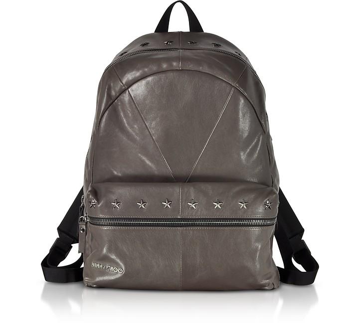 Reed Bls Biker Smoke Leather Backpack W/Studded Stars, Dark Gray