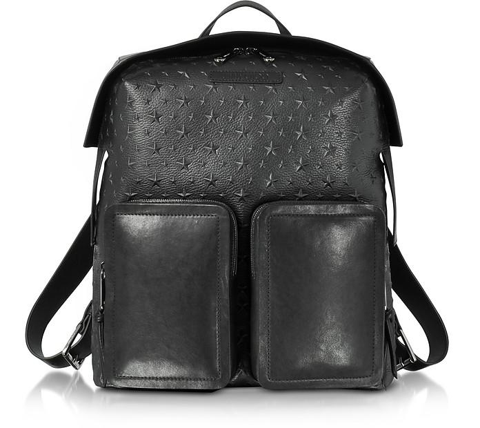 Lennox Black Grained Leather Large Backpack w/Embossed Stars - Jimmy Choo