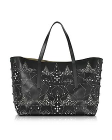 Pimlico Rock Black Leather Large Tote w/Graphic Star Studded Embellishment - Jimmy Choo