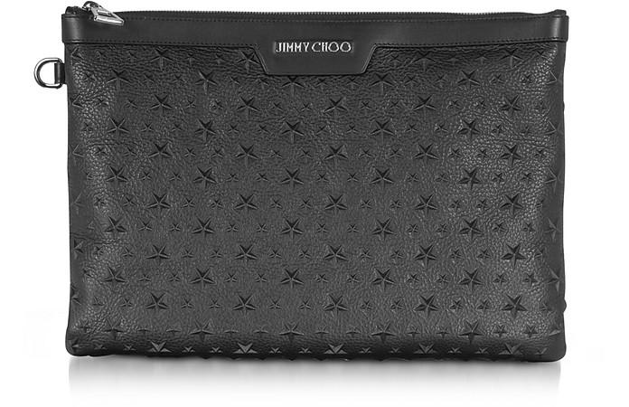 Stars Embossed Grainy Leather Derek Medium Clutch - Jimmy Choo