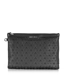 Stars Embossed Grainy Leather Derek Medium Clutch - Jimmy Choo