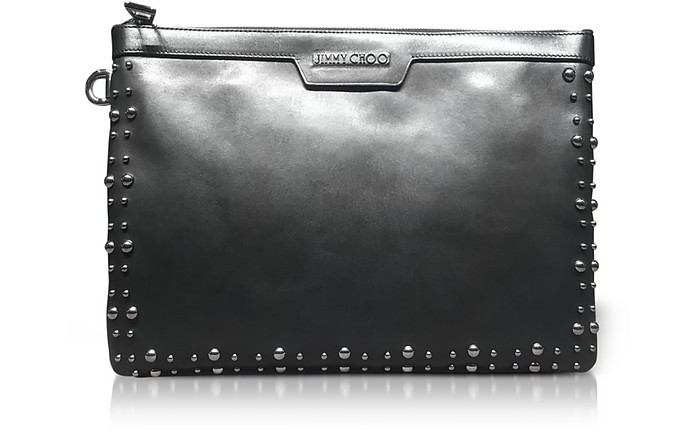Derek Black Leather Clutch w/Pearl Studs - Jimmy Choo