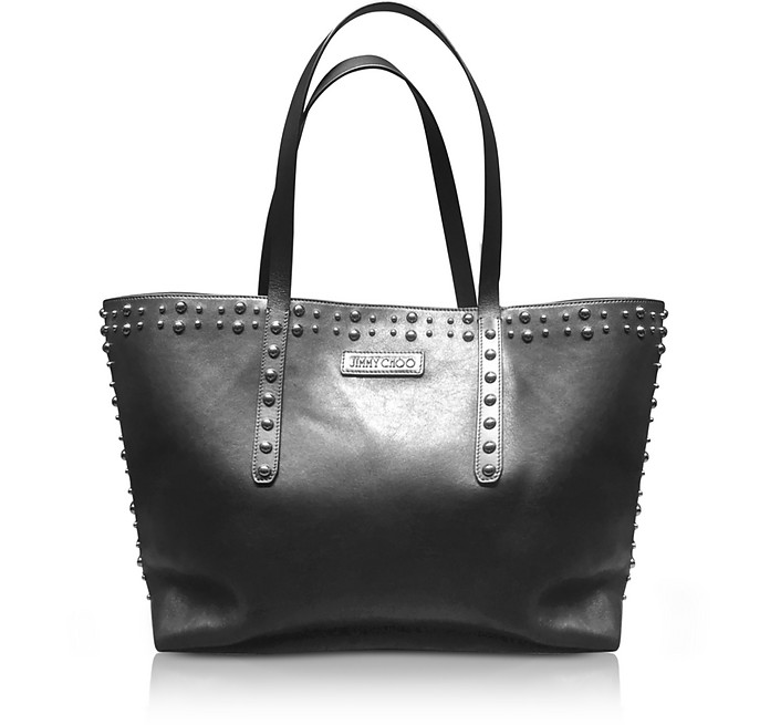 Pimlico Black Leather Tote Bag W/Pearl Studs
