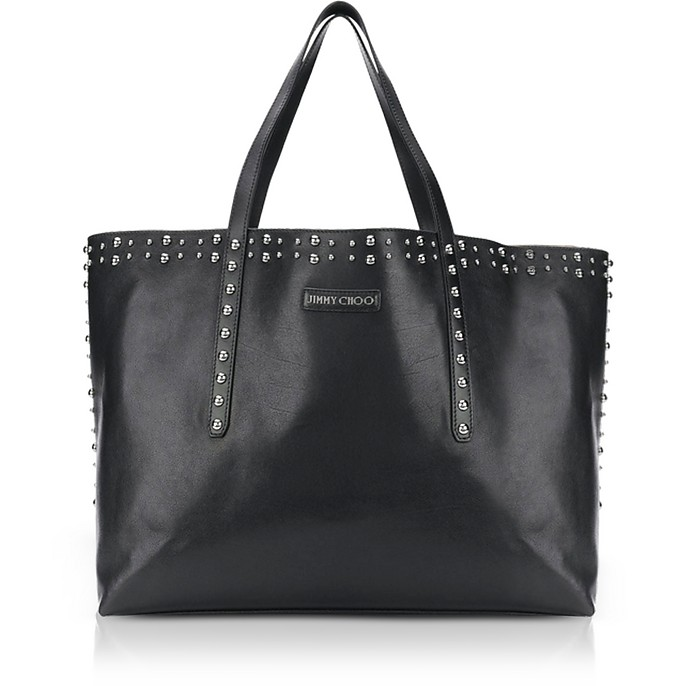 Pimlico Black Leather Tote Bag w/Pearl Studs - Jimmy Choo