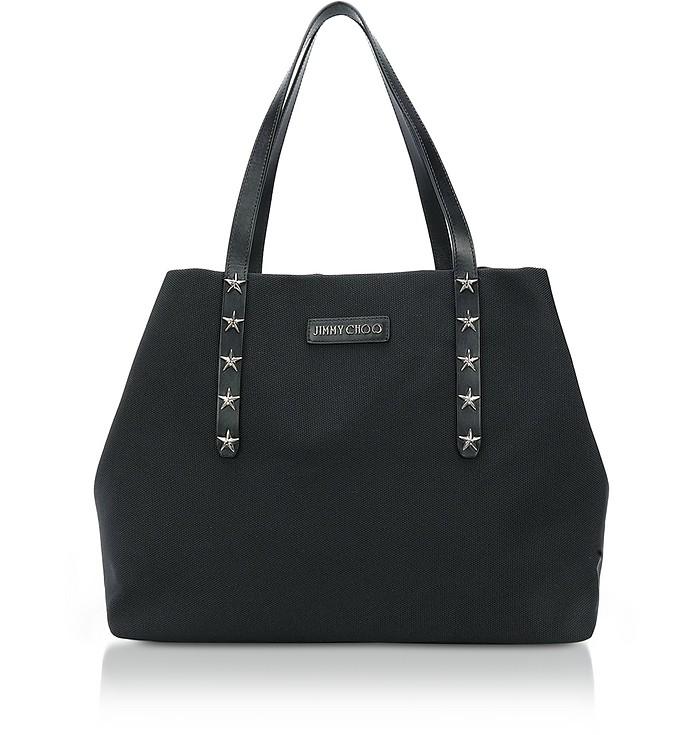 Pimlico/S Black Woven Nylon Tote Bag w/Star Studded Handles - Jimmy Choo