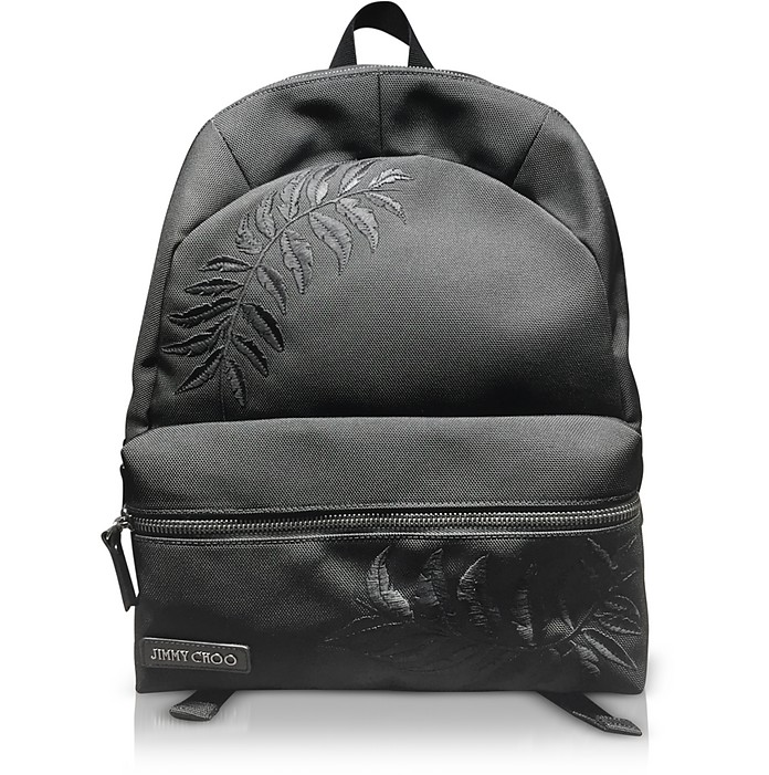Reed Black Woven Nylon Backpack W/Feather Embroidery