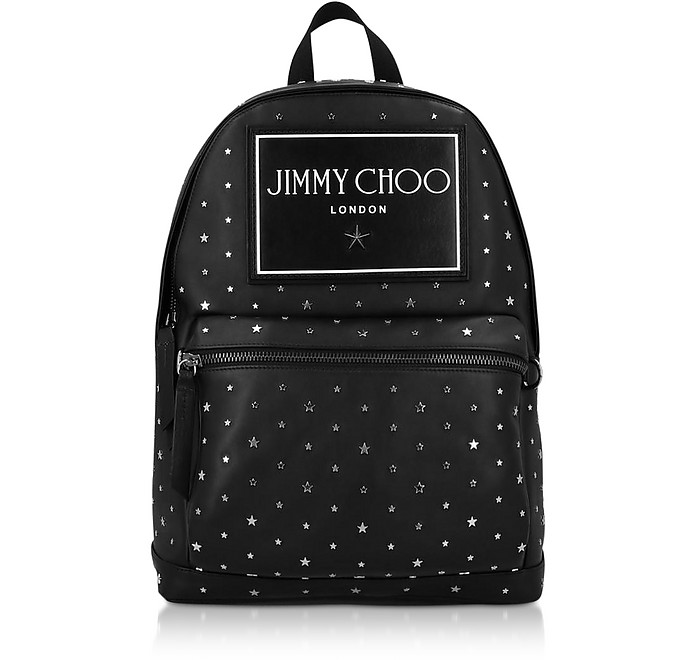 Black Leather Wilmer UXI Backpack w/ Star Studs - Jimmy Choo周仰杰