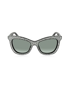 FLASH/S F18HD Black Silver Glitter Women's Sunglasses - Jimmy Choo