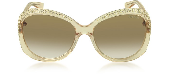 LU/S FHF42 Transparent Nude Crystal Women's Sunglasses - Jimmy Choo