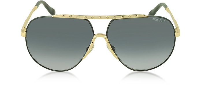 BENNY/S FHGHD Black Metal Aviator Women's Sunglasses - Jimmy Choo