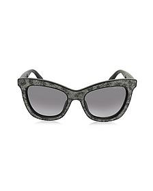 FLASH/S IBWEU Black & Grey Glitter Cat Eye Sunglasses - Jimmy Choo