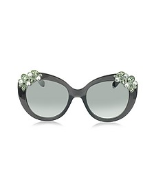 MEGAN/S 1VDIC Dark Grey Oversized Sunglasses w/Jewelled Clusters - Jimmy Choo