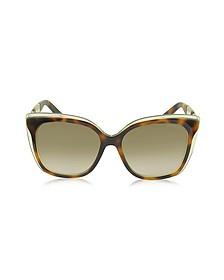 OCTAVIA/S 19WJD Havana Brown Acetate Cat Eye Sunglasses - Jimmy Choo