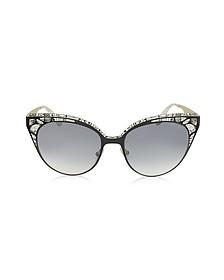 ESTELLE/S ENYLF Black Metal Lace Cat Eye Sunglasses - Jimmy Choo
