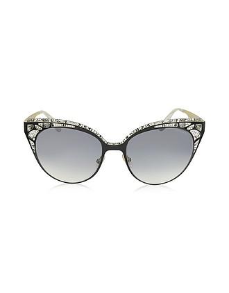6b202fbf558 ESTELLE S ENYLF Black Metal Lace Cat Eye Sunglasses - Jimmy Choo
