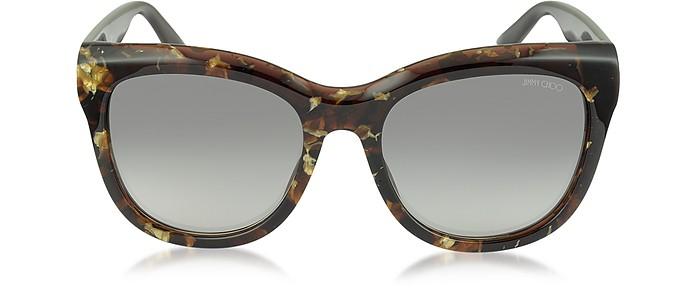 NURIA/S W036P Dark Brown Acetate Cat Eye Sunglasse - Jimmy Choo