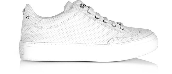Ace White Embossed Nubuck Men's Low Top Sneakers w/Stars - Jimmy Choo