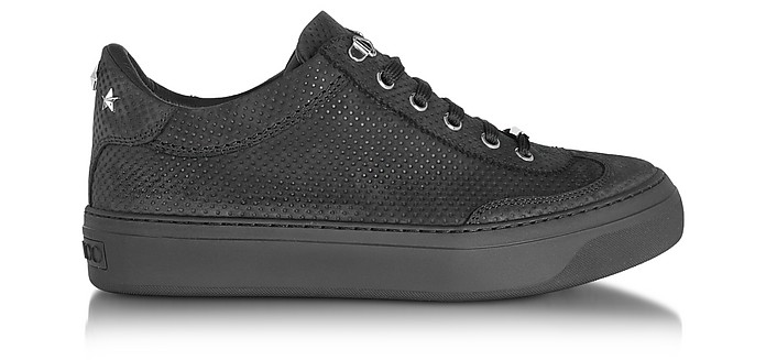 Ace Black Embossed Nubuck Men's Low Top Sneakers w/Stars - Jimmy Choo