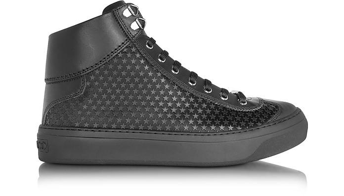 Argyle Black Satin High Top Men's Sneakers w/Mini Rubber Stars - Jimmy Choo