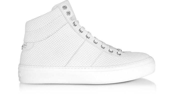 Belgravi White Embossed Nubuck Men's High Top Sneaker w/Stars - Jimmy Choo