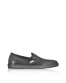 Grove Black Satin Men's Slip on Sneakers w/Mini Rubber Star - Jimmy Choo