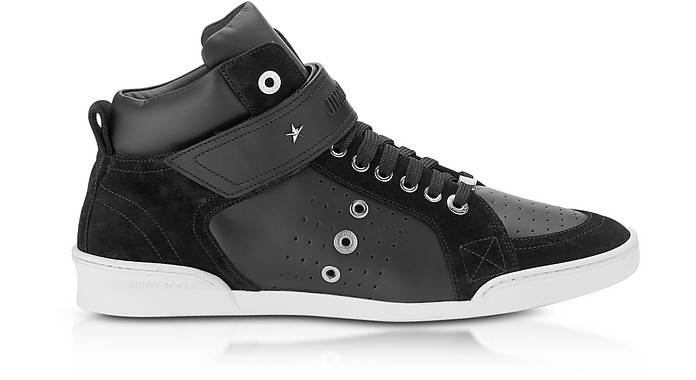 Black Sport Leather Men's And Suede Top Lewis High Sneakers TFKJl1c