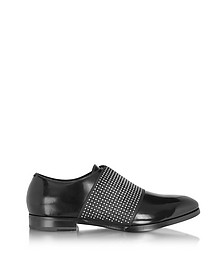 Peter Black Leather Loafer w/Elastic Studded Band - Jimmy Choo