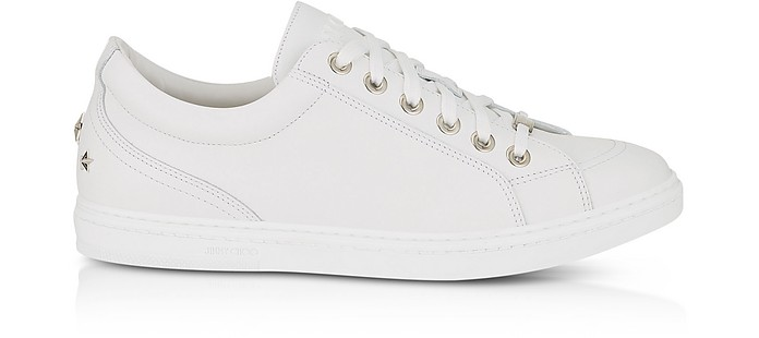 Cash SML Ultra White Leather Low Top Sneakers w/Studded Stars - Jimmy Choo