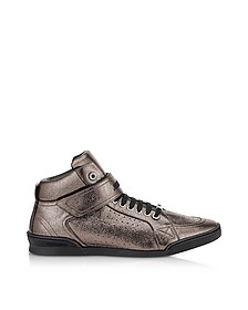 Lewis EOE Gunmetal Metallic Soft Leather High Top Sneakers - Jimmy Choo