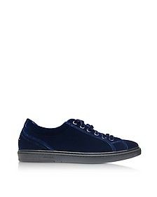Cash Navy Blue Velvet Low Top Sneakers w/Studded Stars - Jimmy Choo