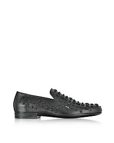 Sloane OMX Black Leather Loafers w/ Studded Mixed Stars - Jimmy Choo