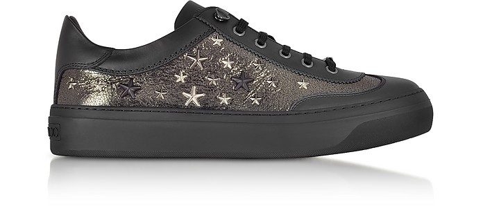 Ace EOR Metallic Gunmetal Leather Low Top Sneakers w/Studded Stars - Jimmy Choo