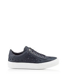 Ace OMX Navy Blue Leather Low Top Sneakers w/Studded Stars - Jimmy Choo