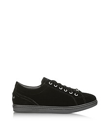 Cash Black Velvet Low Top Sneakers w/Studded Stars - Jimmy Choo