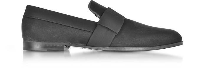 John Black Velvet and Slate Grosgrain Slipper Shoes - Jimmy Choo