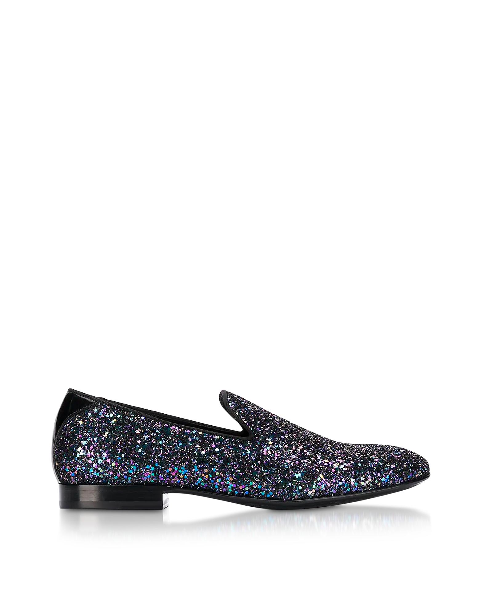 2d267547d659 Jimmy Choo Sloane Black Coarse Glitter Fabric Slippers