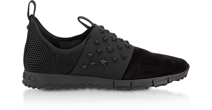 OAKLAND/M Black Suede and Mesh Slip On Trainer w/Stars - Jimmy Choo