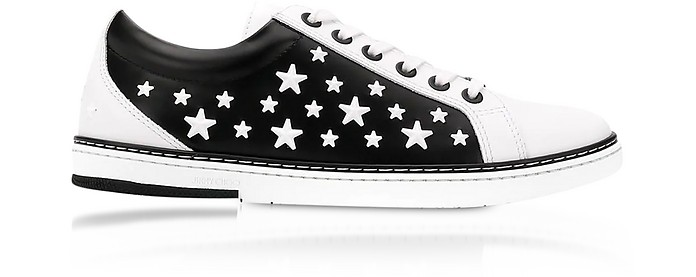 White CASH Low Top Trainer w/Enamel Stars - Jimmy Choo