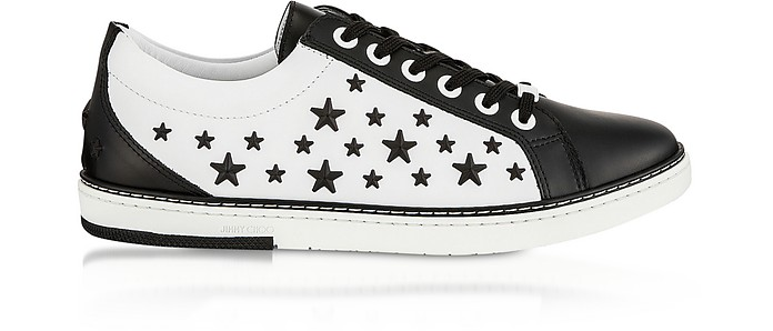 Black CASH Low Top Trainer w/Black Matt Enamel Stars - Jimmy Choo