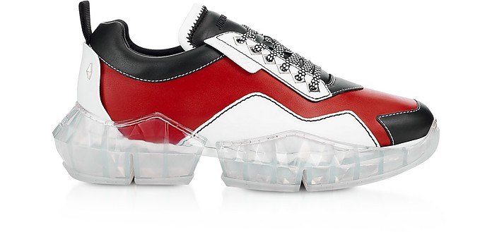 Red & Black Soft Leather DIAMOND/M Low Top Trainers - Jimmy Choo