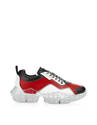 6b8301608 Red & Black Soft Leather DIAMOND/M Low Top Trainers - Jimmy Choo