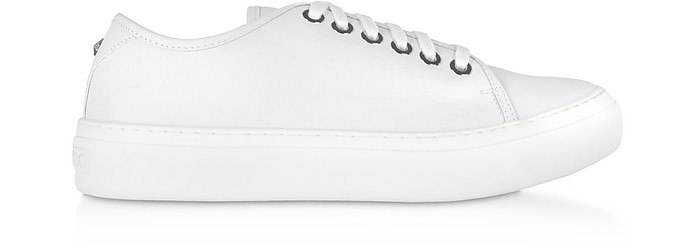 White Embossed Leather AIDEN Low Top Trainers - Jimmy Choo